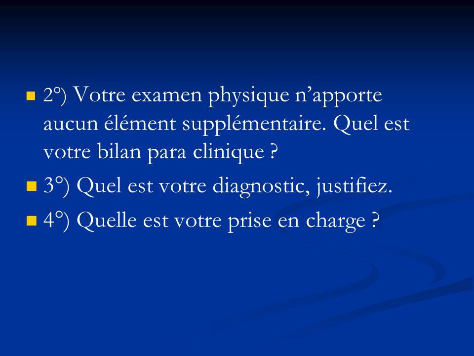 3°) Quel est votre diagnostic, justifiez.
