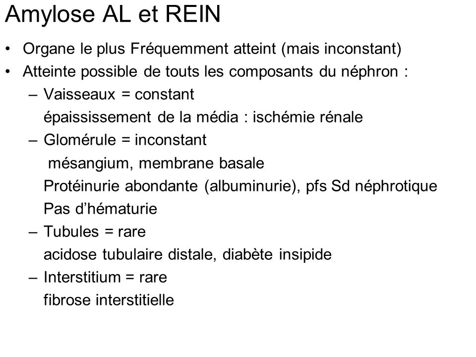 Amylose AL et REIN Organe le plus Fréquemment atteint (mais inconstant) Atteinte possible de touts les composants du néphron :