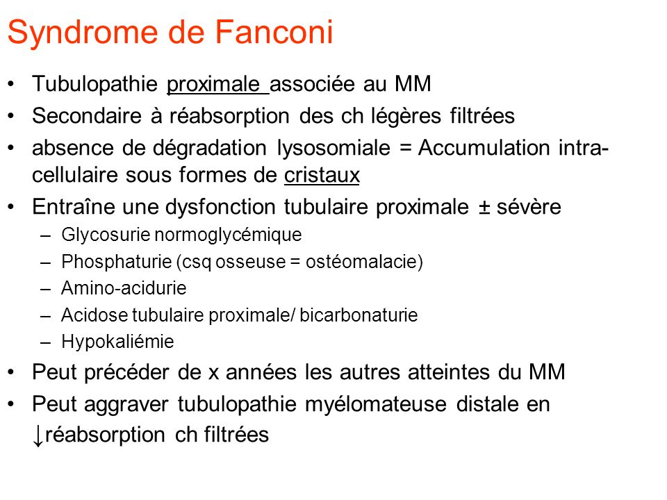 Syndrome de Fanconi Tubulopathie proximale associée au MM