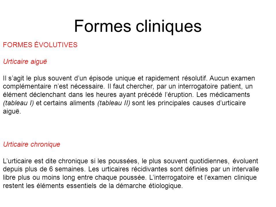 Formes cliniques FORMES ÉVOLUTIVES Urticaire aiguë