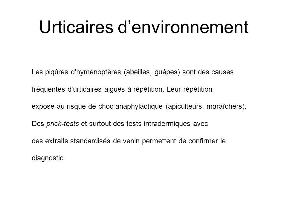 Urticaires d'environnement