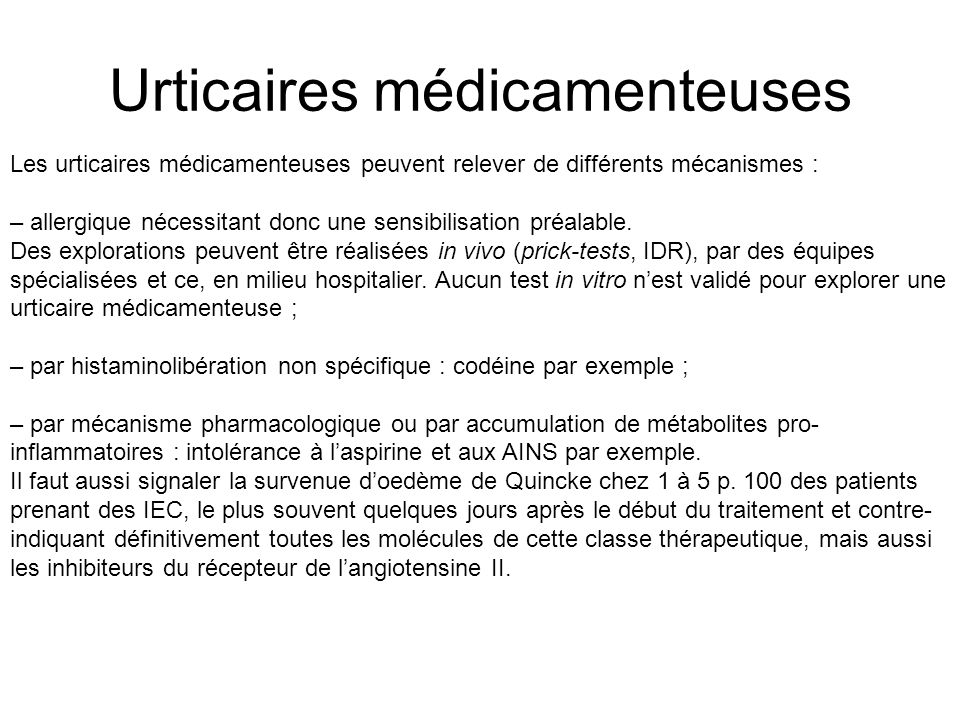 Urticaires médicamenteuses