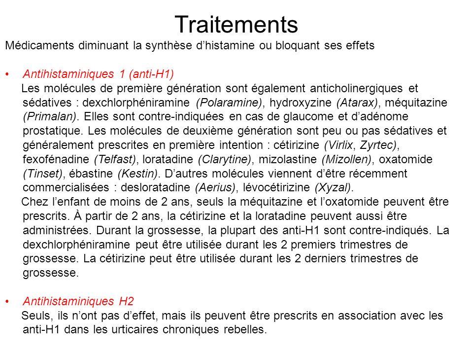 Traitements Médicaments diminuant la synthèse d'histamine ou bloquant ses effets. Antihistaminiques 1 (anti-H1)