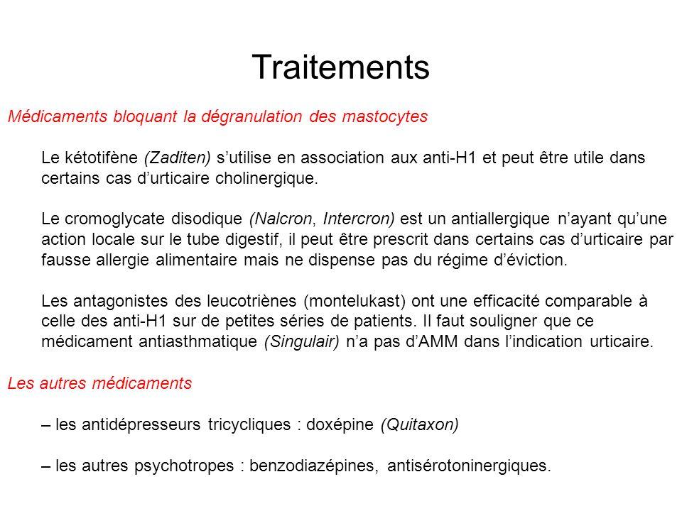 Traitements Médicaments bloquant la dégranulation des mastocytes