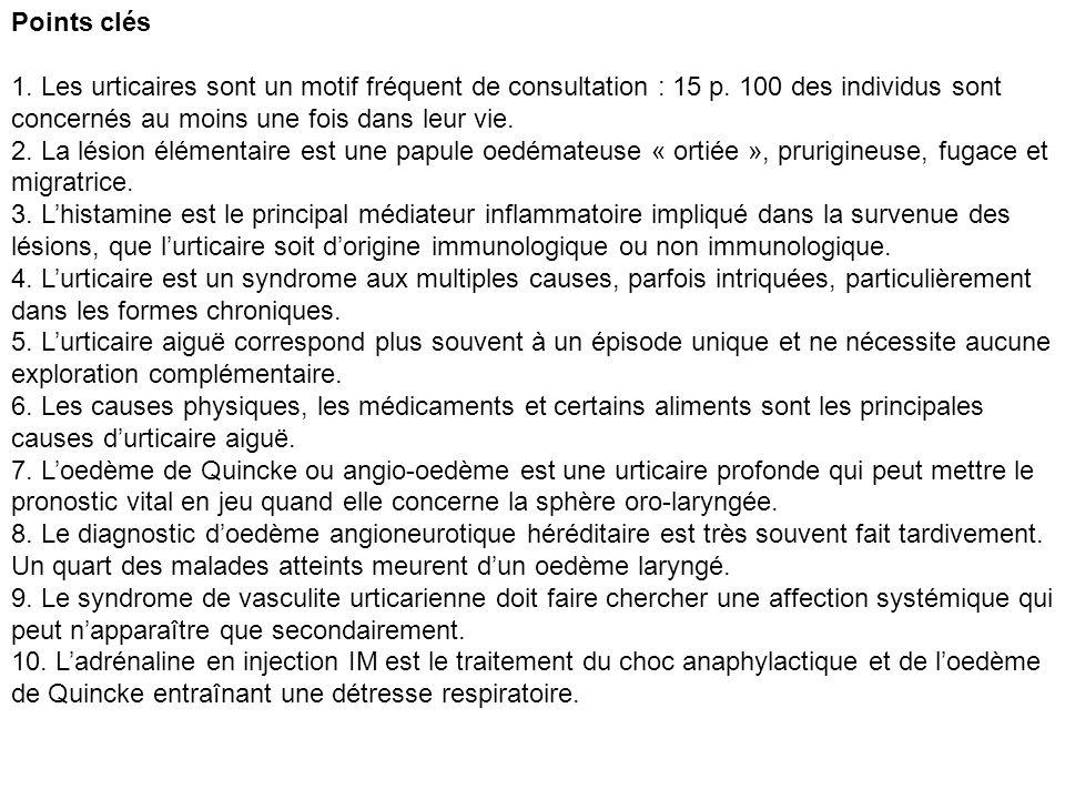Points clés 1. Les urticaires sont un motif fréquent de consultation : 15 p. 100 des individus sont concernés au moins une fois dans leur vie.
