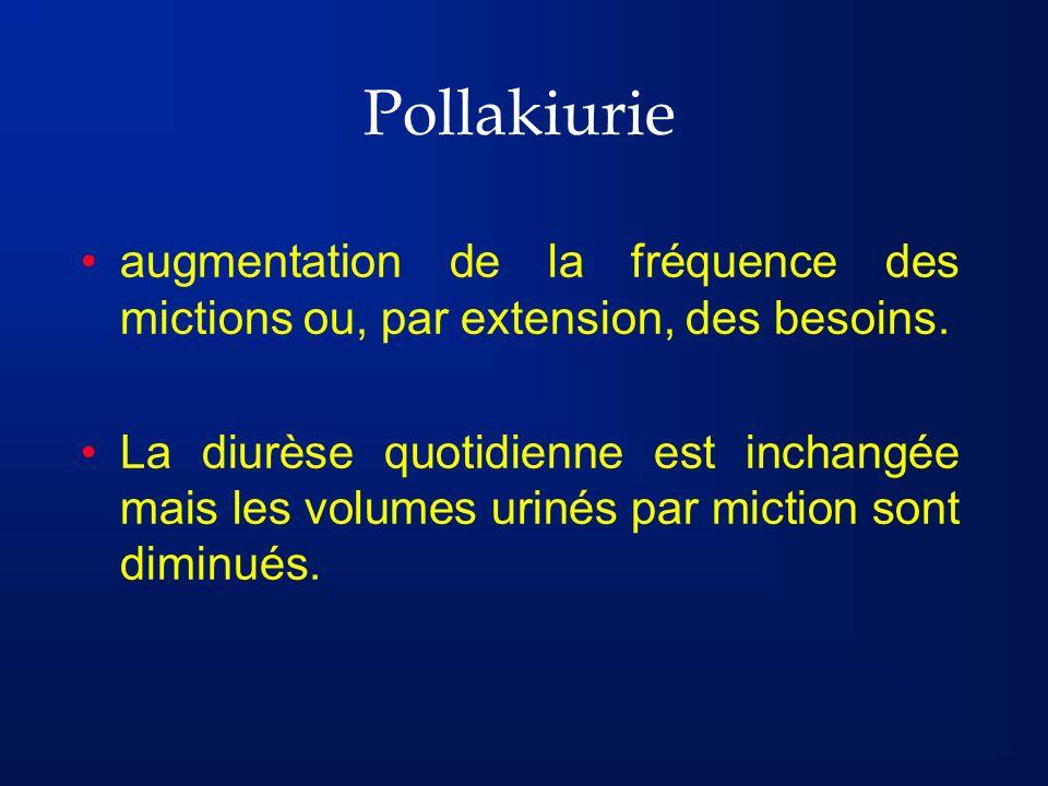 Pollakiurie augmentation de la fréquence des mictions ou, par extension, des besoins.