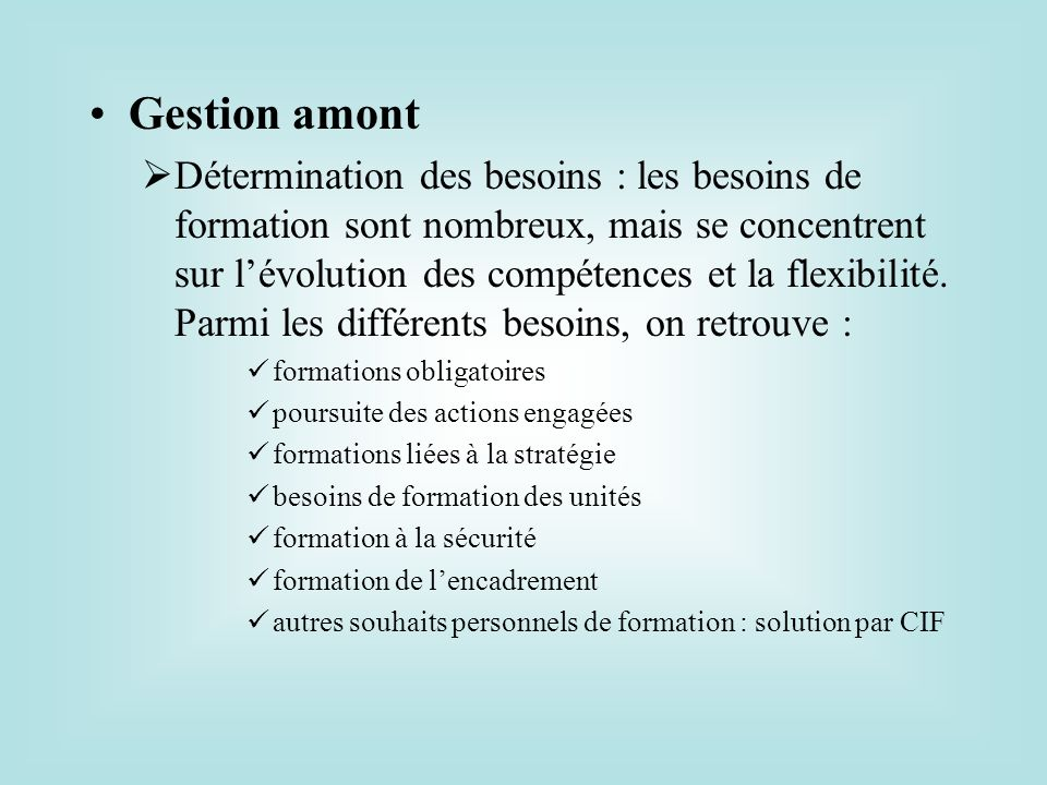 Gestion amont