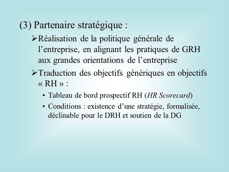 (3) Partenaire stratégique :