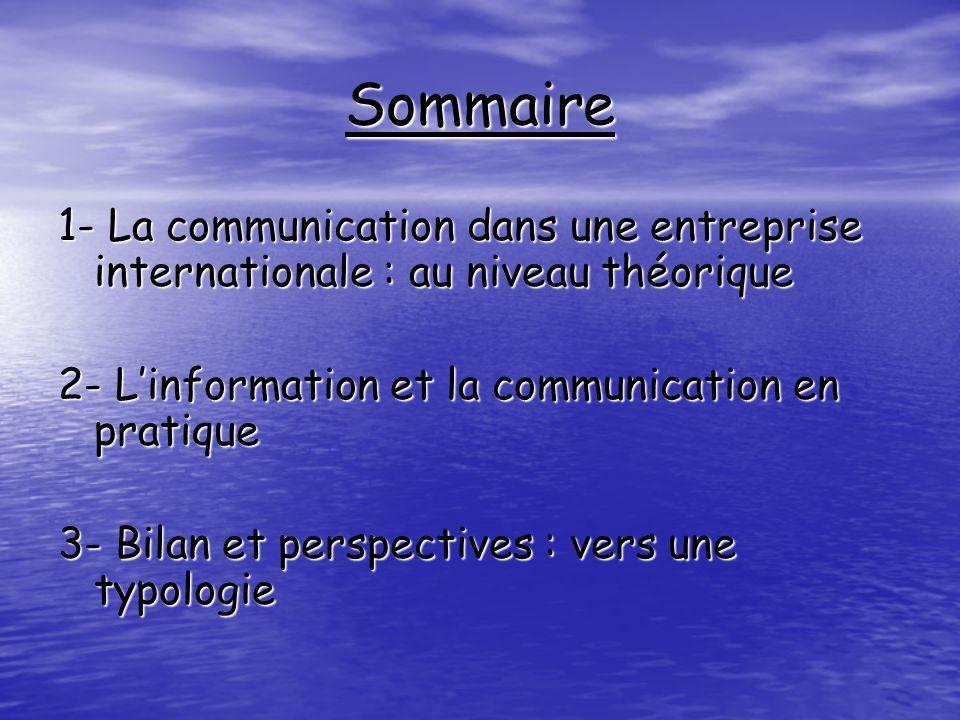 Sommaire 1- La communication dans une entreprise internationale : au niveau théorique. 2- L'information et la communication en pratique.