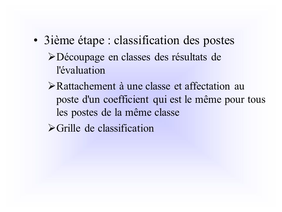 3ième étape : classification des postes