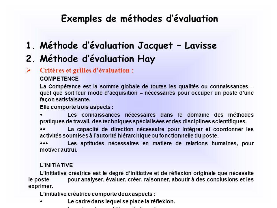 Exemples de méthodes d'évaluation