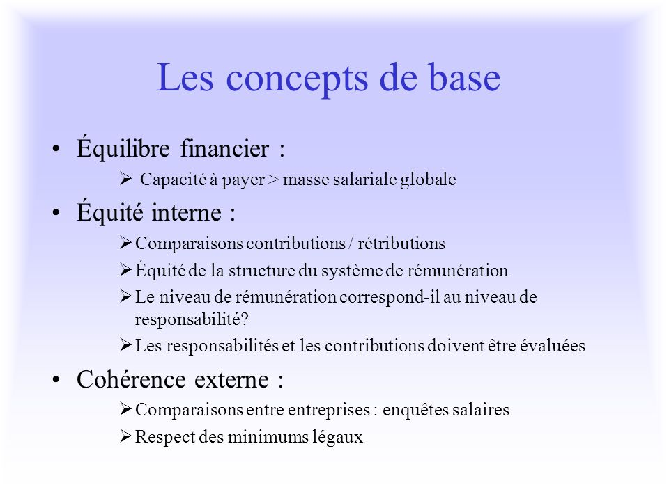 Les concepts de base Équilibre financier : Équité interne :