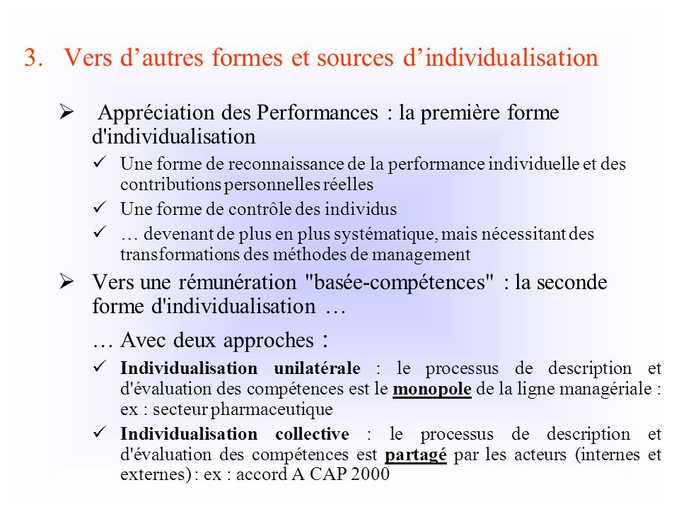 Vers d'autres formes et sources d'individualisation