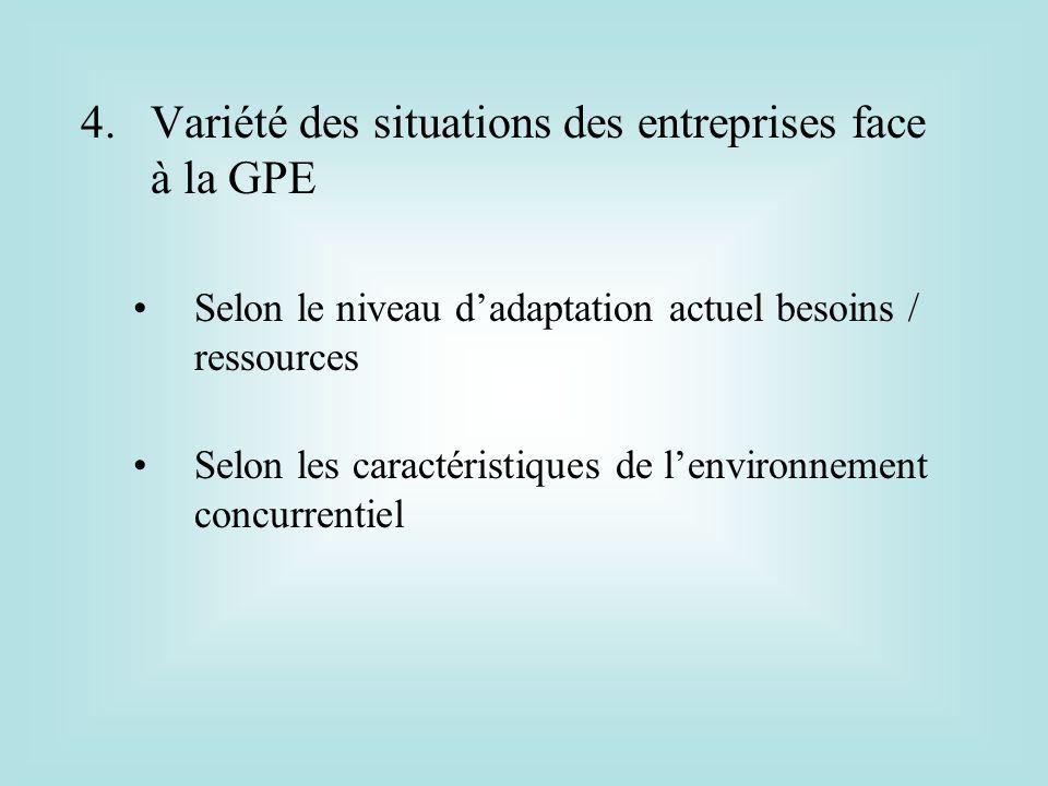 Variété des situations des entreprises face à la GPE