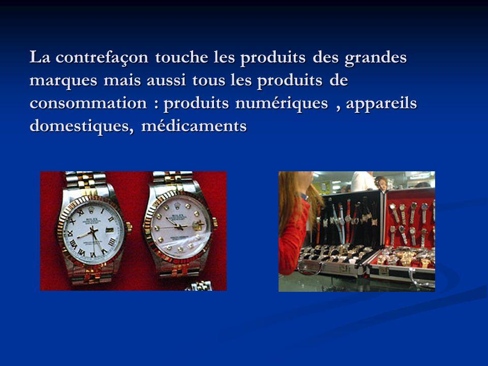 La contrefaçon touche les produits des grandes marques mais aussi tous les produits de consommation : produits numériques , appareils domestiques, médicaments