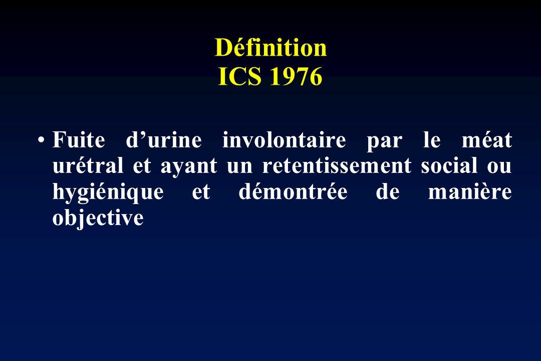 Définition ICS 1976Fuite d'urine involontaire par le méat urétral et ayant un retentissement social ou hygiénique et démontrée de manière objective.