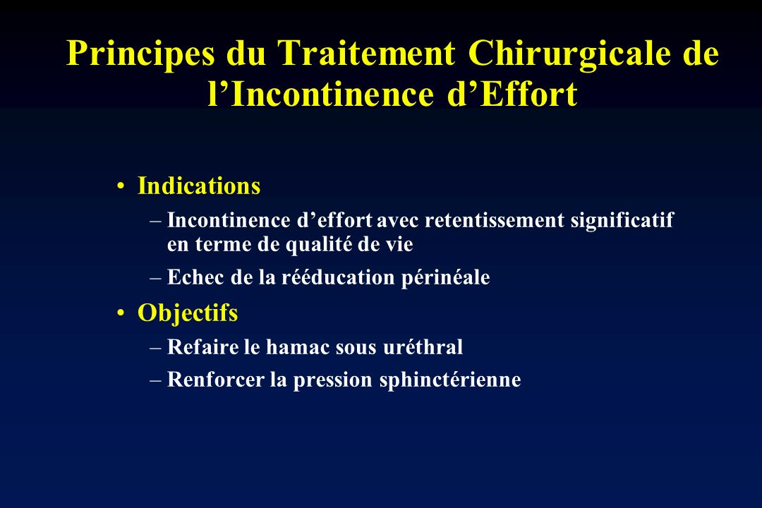 Principes du Traitement Chirurgicale de l'Incontinence d'Effort