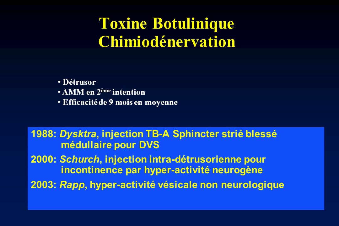 Toxine Botulinique Chimiodénervation