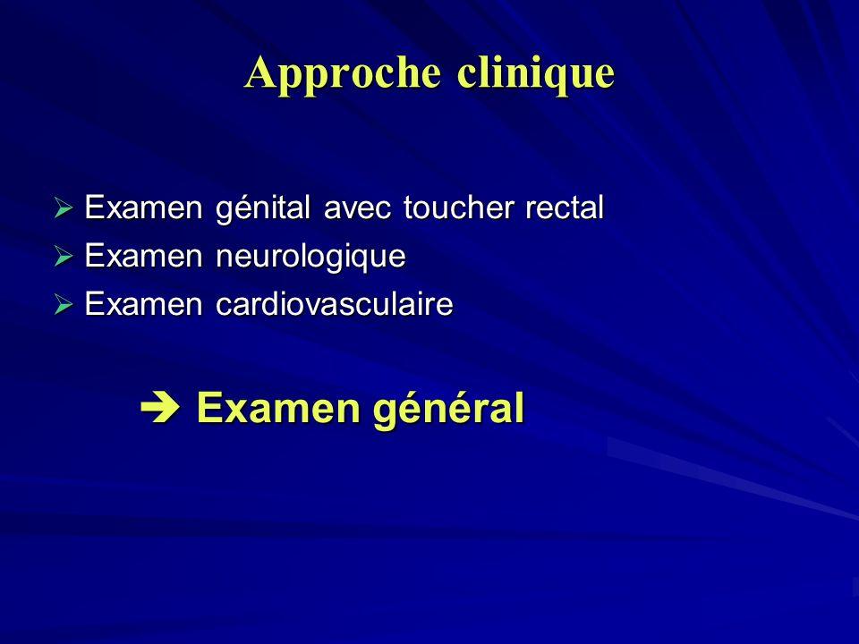 Approche clinique  Examen général Examen génital avec toucher rectal