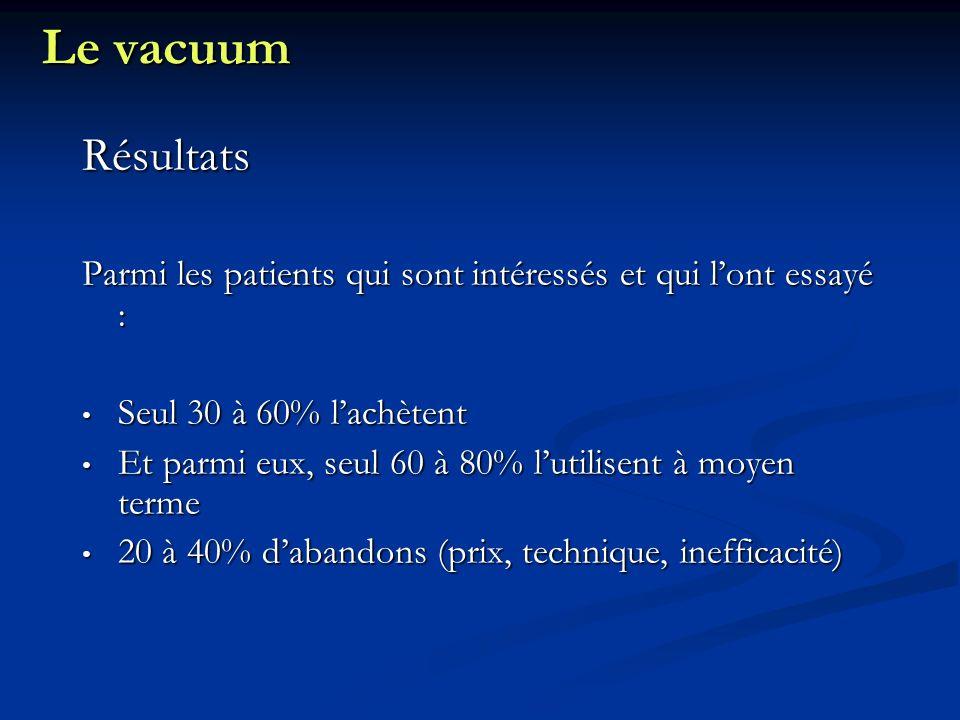 Le vacuum Résultats. Parmi les patients qui sont intéressés et qui l'ont essayé : Seul 30 à 60% l'achètent.