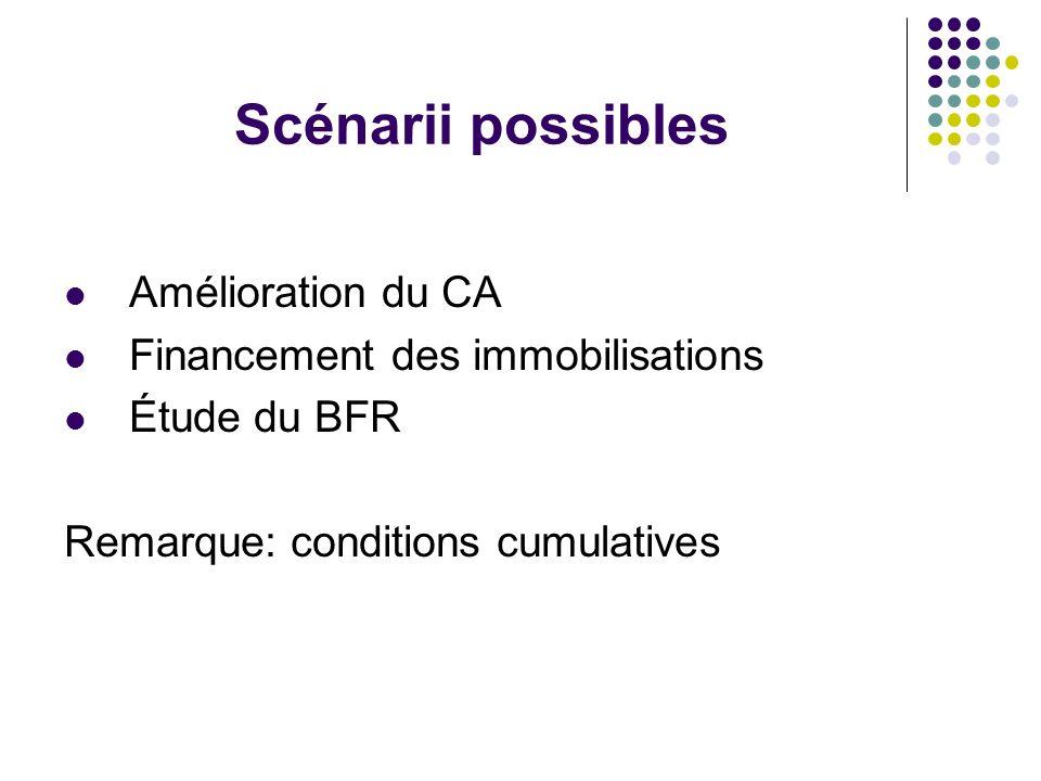 Scénarii possibles Amélioration du CA Financement des immobilisations