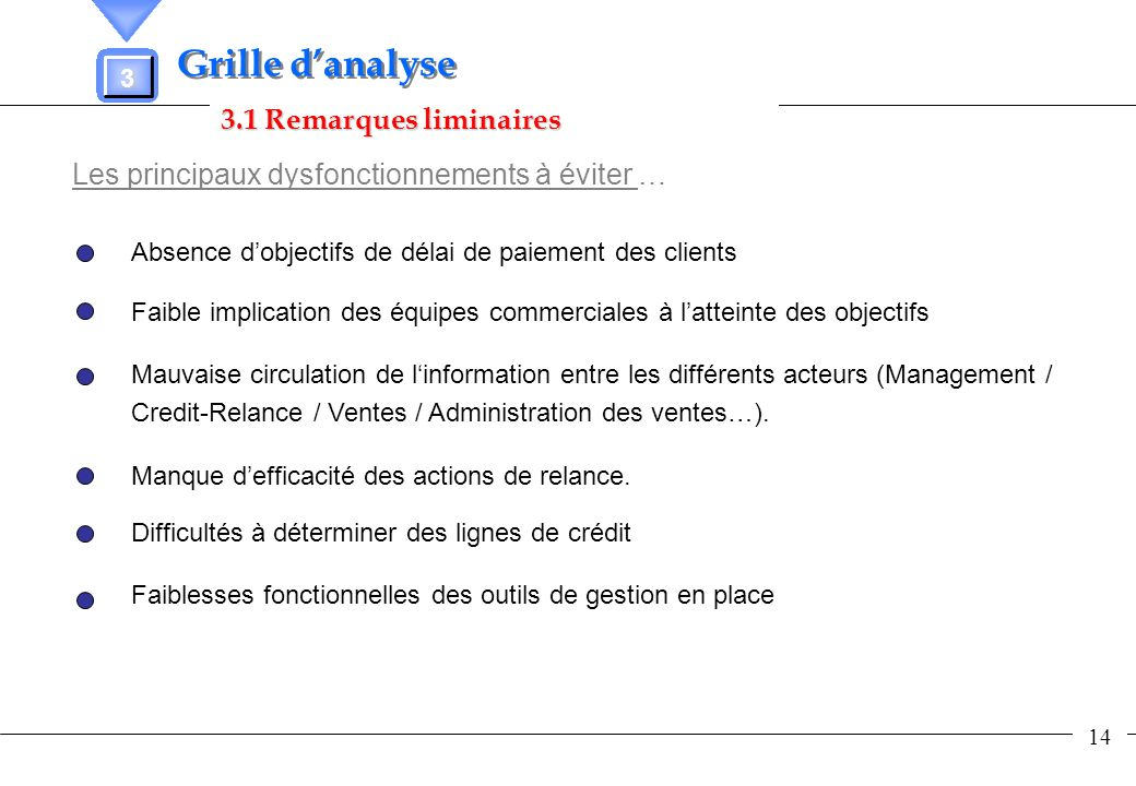 Grille d'analyse 3.1 Remarques liminaires