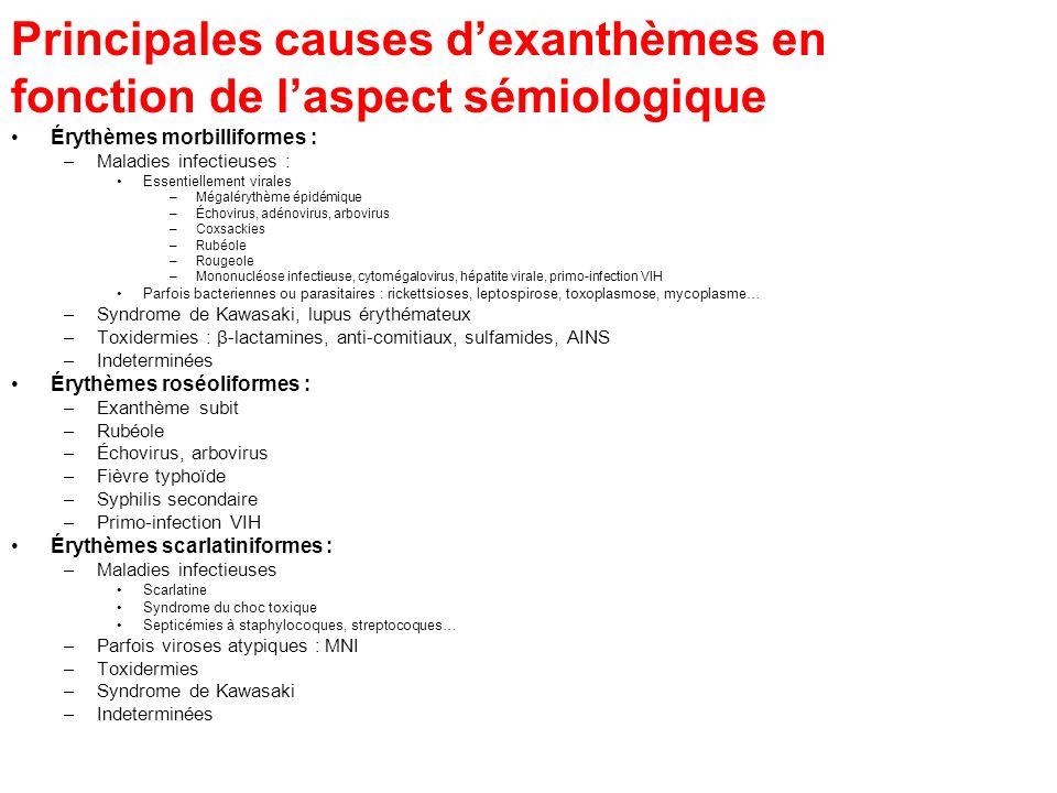 Principales causes d'exanthèmes en fonction de l'aspect sémiologique
