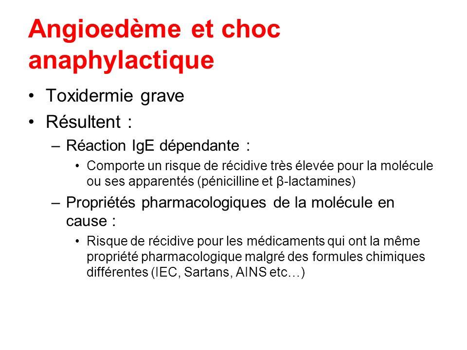 Angioedème et choc anaphylactique