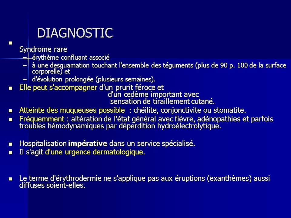 DIAGNOSTIC Syndrome rare