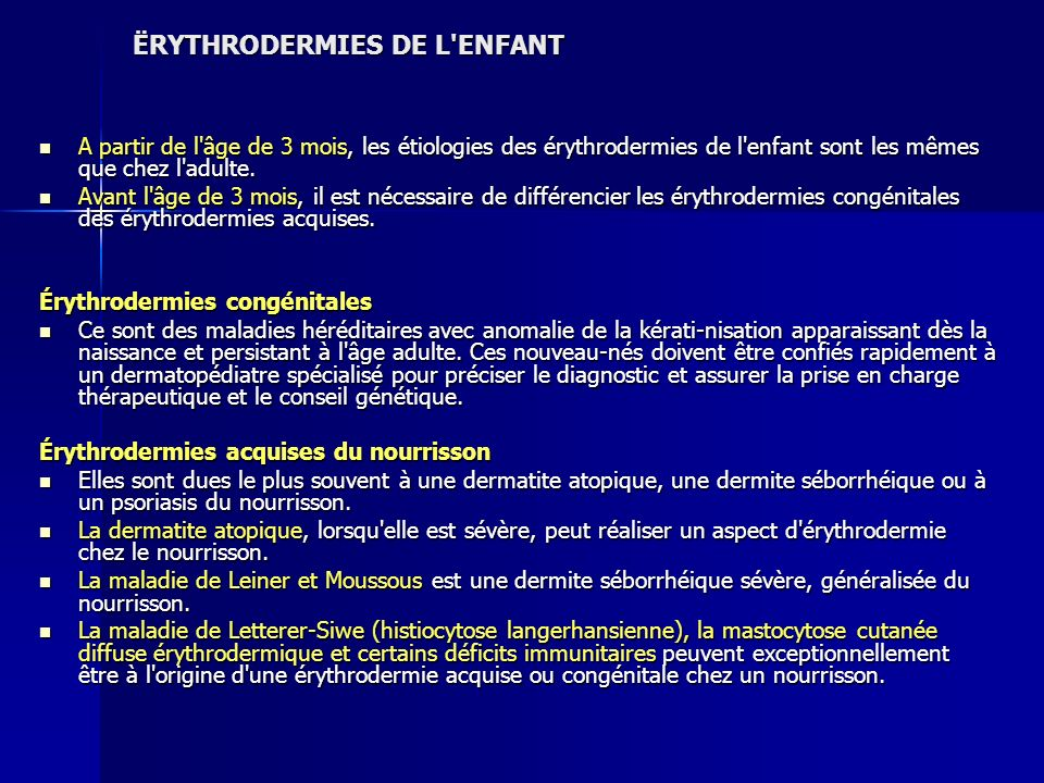 ËRYTHRODERMIES DE L ENFANT