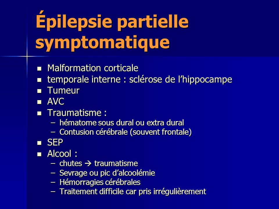 Épilepsie partielle symptomatique