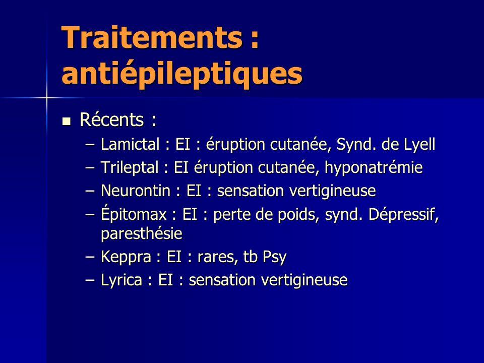 Traitements : antiépileptiques