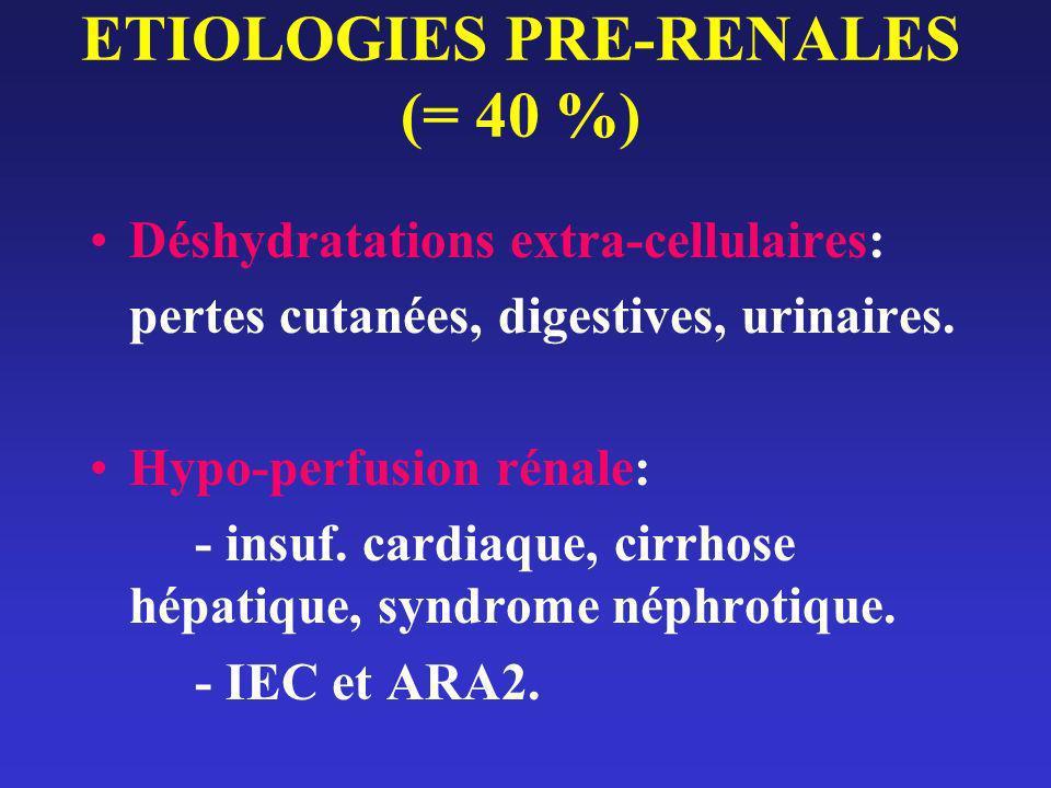 ETIOLOGIES PRE-RENALES (= 40 %)