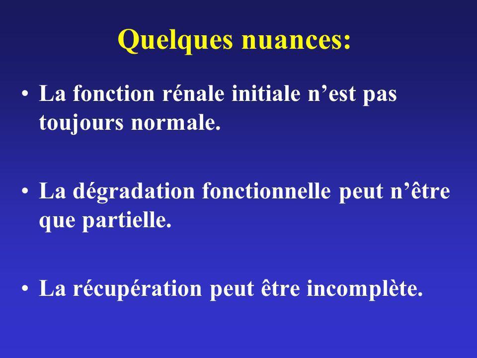 Quelques nuances: La fonction rénale initiale n'est pas toujours normale. La dégradation fonctionnelle peut n'être que partielle.