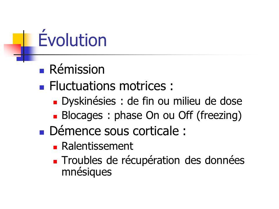 Évolution Rémission Fluctuations motrices : Démence sous corticale :