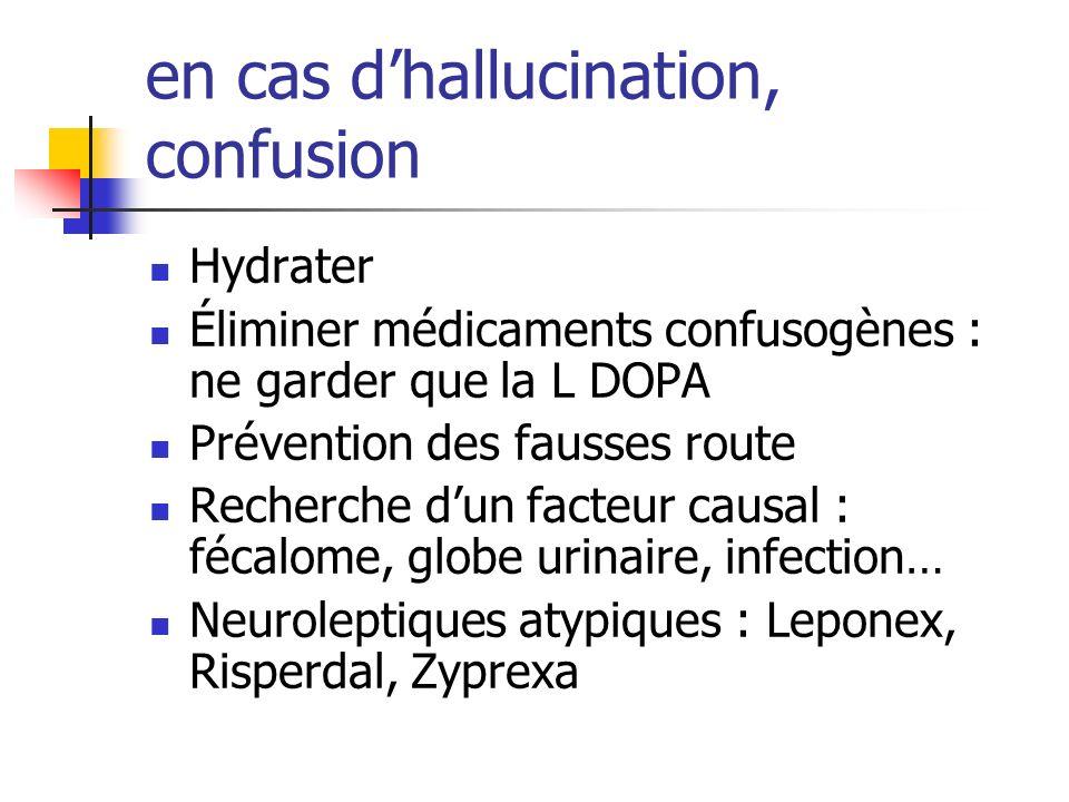 en cas d'hallucination, confusion