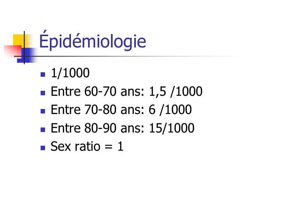 Épidémiologie 1/1000 Entre 60-70 ans: 1,5 /1000