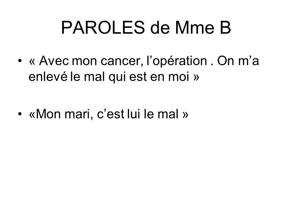 PAROLES de Mme B « Avec mon cancer, l'opération .