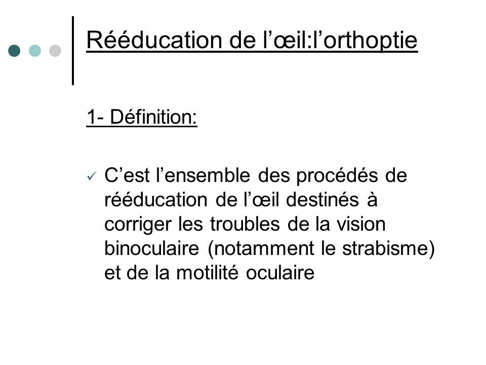 Rééducation de l'œil:l'orthoptie