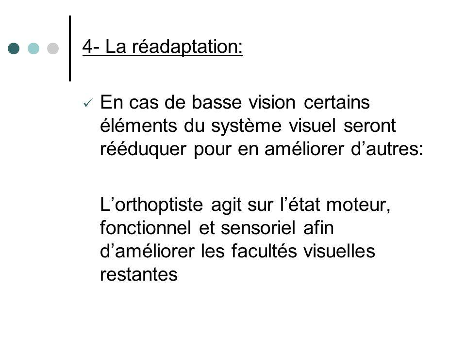 4- La réadaptation: En cas de basse vision certains éléments du système visuel seront rééduquer pour en améliorer d'autres: