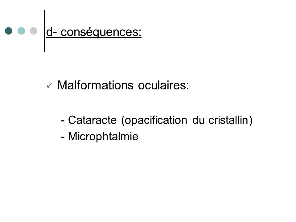 Malformations oculaires: