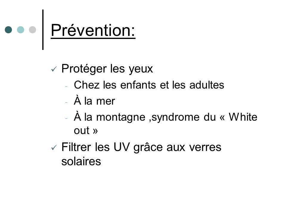 Prévention: Protéger les yeux Filtrer les UV grâce aux verres solaires