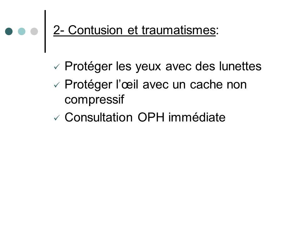 2- Contusion et traumatismes:
