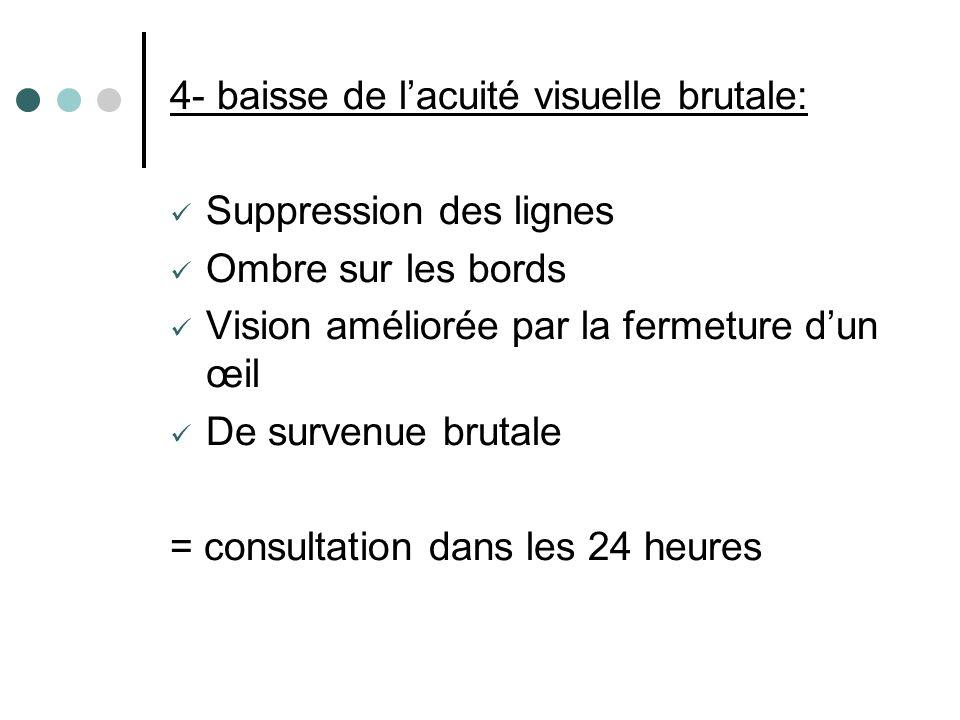 4- baisse de l'acuité visuelle brutale: