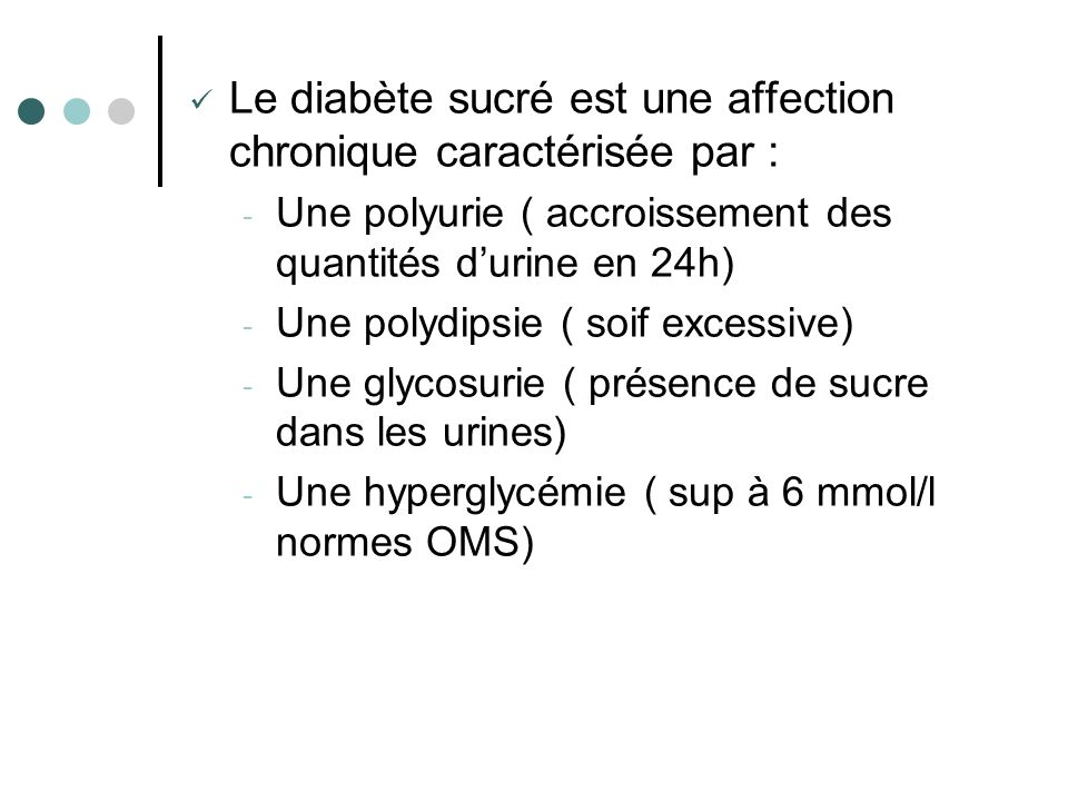 Le diabète sucré est une affection chronique caractérisée par :