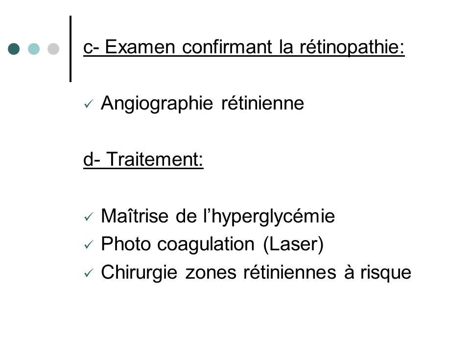 c- Examen confirmant la rétinopathie: