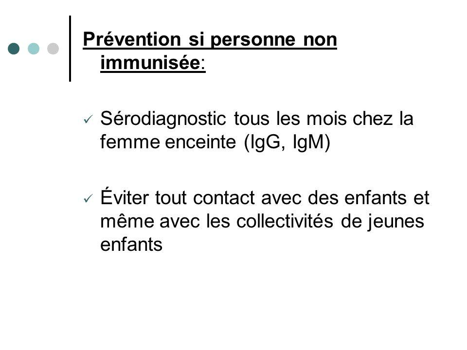 Prévention si personne non immunisée: