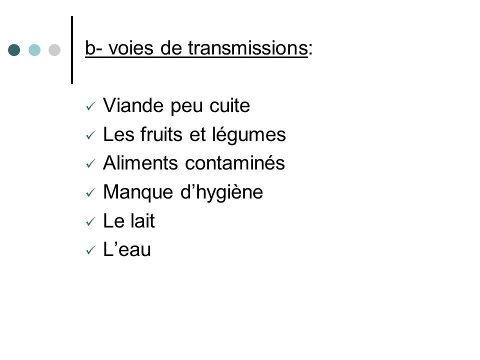 b- voies de transmissions: