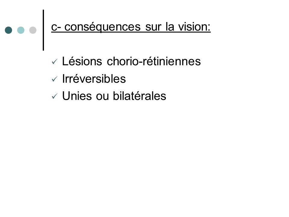c- conséquences sur la vision: