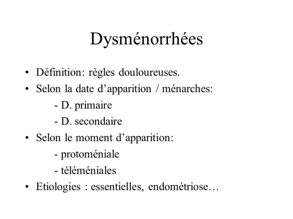 Dysménorrhées Définition: règles douloureuses.